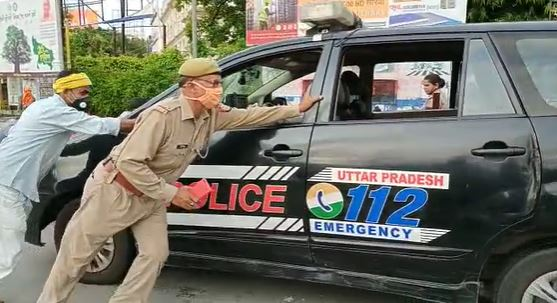 Dial-112 Hazratganj intersection is hit in a car