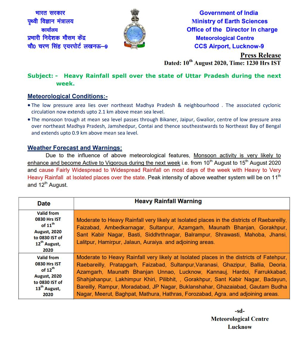 Warning heavy rains in these districts of UP for 2 days Lucknow
