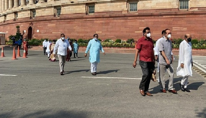 Opposition leaders walk-out of Rajya Sabha and protested