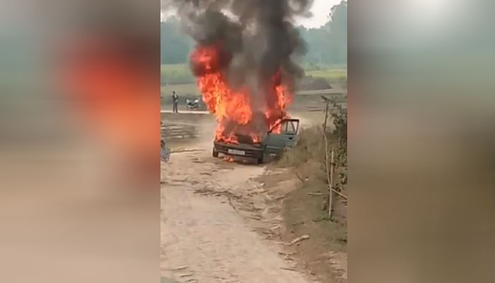 Farmer's car burnt